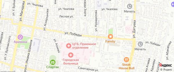 Улица Победы на карте Хасавюрта с номерами домов