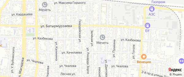 Зеленая улица на карте Хасавюрта с номерами домов