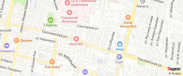 Санитарная улица 6-й проезд на карте Хасавюрта с номерами домов