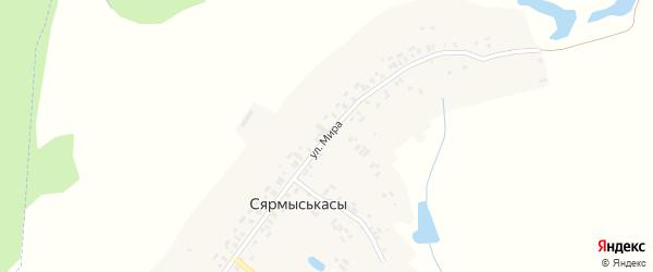 Улица Мира на карте деревни Сярмыськас с номерами домов