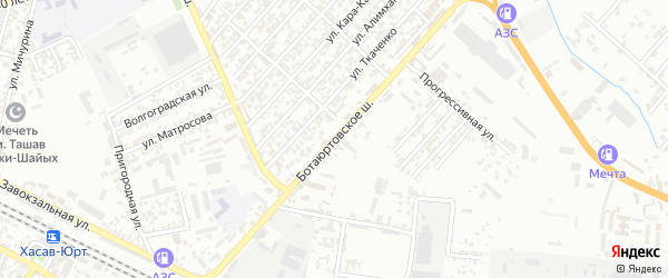 Ботаюртовское шоссе на карте Хасавюрта с номерами домов