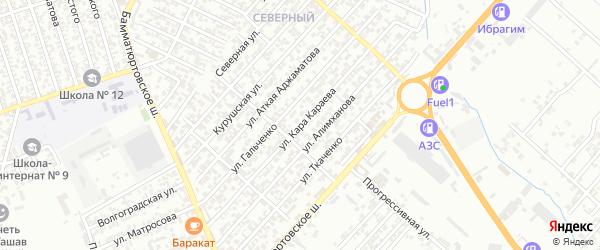Улица Кара Караева на карте Северного поселка с номерами домов