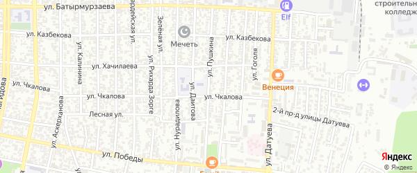 Улица Пушкина на карте Хасавюрта с номерами домов