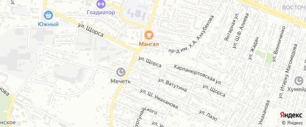 Улица Щорса на карте Хасавюрта с номерами домов