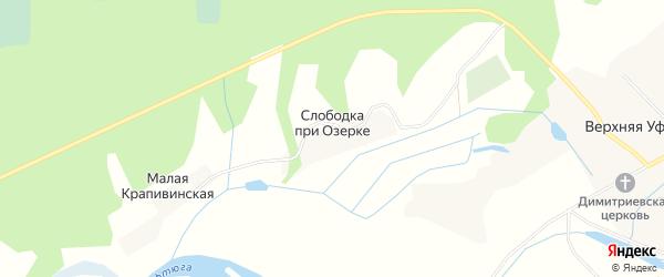 Карта деревни Слободка при Озерке в Архангельской области с улицами и номерами домов