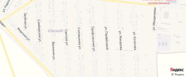 Профсоюзная улица на карте Алатыря с номерами домов