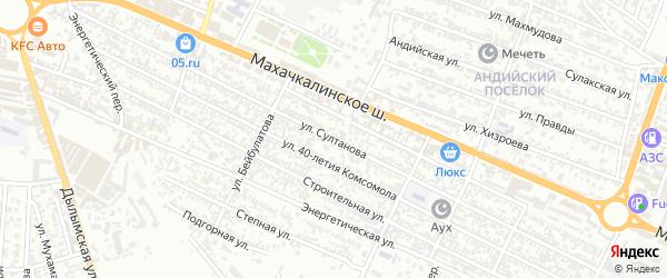 Улица Султанова на карте железнодорожной станции Карланюрта с номерами домов