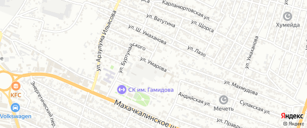 Улица Умарова на карте Хасавюрта с номерами домов