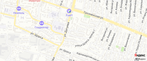 Грозненский 4-й проезд на карте Хасавюрта с номерами домов