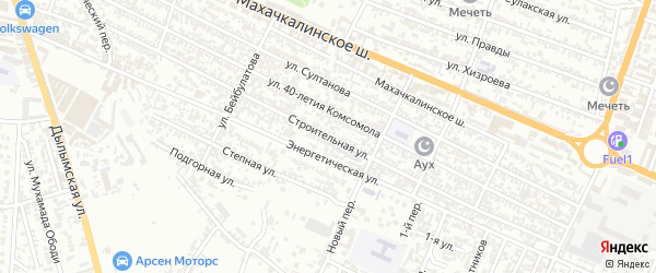 Строительная улица на карте Хасавюрта с номерами домов