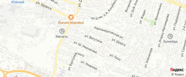 Улица Ватунина на карте Хасавюрта с номерами домов