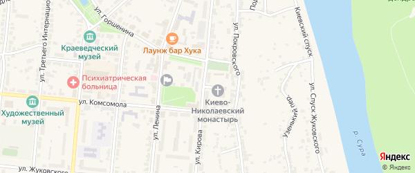 Улица Комгородок на карте Алатыря с номерами домов