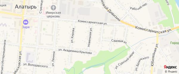 Новенькая улица на карте Алатыря с номерами домов