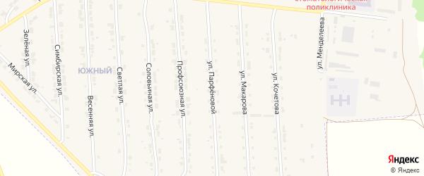 Улица З.И.Парфеновой на карте Алатыря с номерами домов