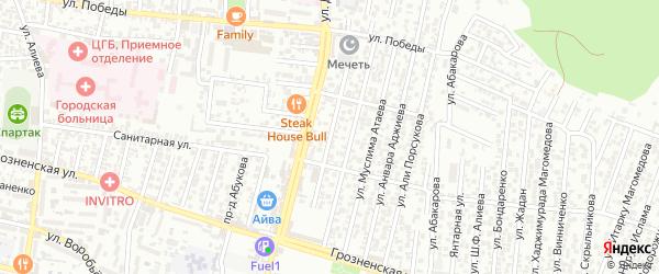 Санитарная улица 1-й проезд на карте Хасавюрта с номерами домов