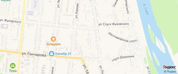 Нагорный переулок на карте Алатыря с номерами домов