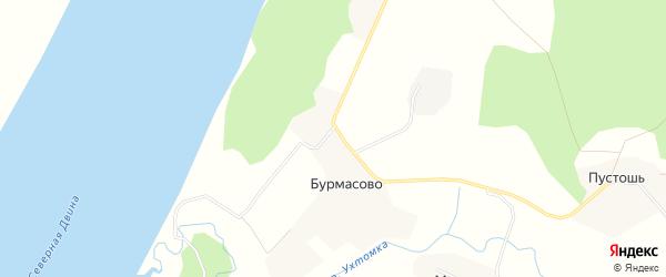 Карта деревни Бурмасово в Архангельской области с улицами и номерами домов