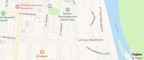 Левобережный переулок на карте Алатыря с номерами домов