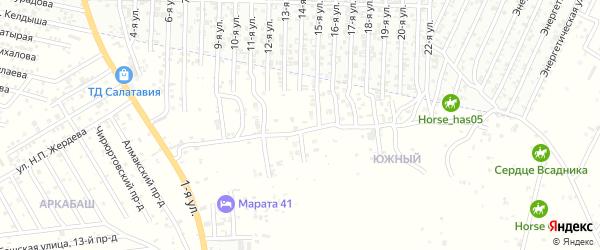 Улица Абдуллаева А.Я. на карте Юбилейного микрорайона с номерами домов