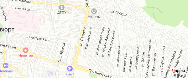 Грозненский 2-й проезд на карте Хасавюрта с номерами домов