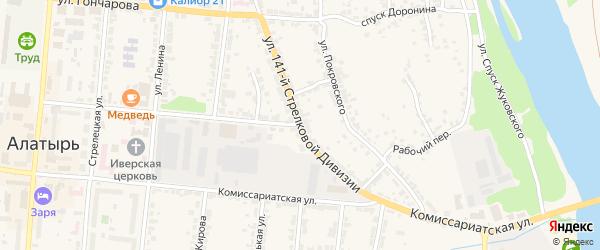 Улица 141 Стрелковой Дивизии на карте Алатыря с номерами домов