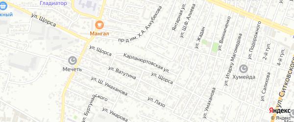 Карланюртовская улица на карте Хасавюрта с номерами домов