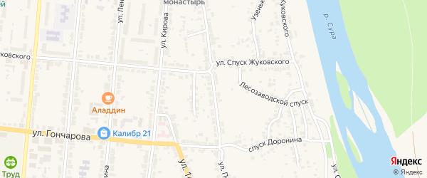 Улица Покровского на карте Алатыря с номерами домов