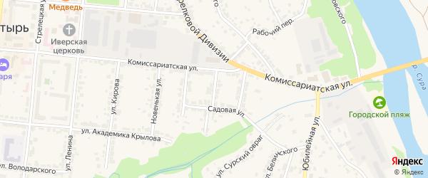 1-й Садовый переулок на карте Алатыря с номерами домов