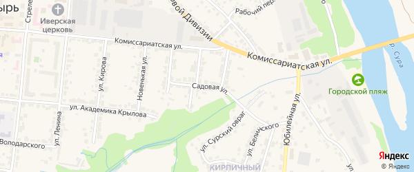 Садовая улица на карте Алатыря с номерами домов