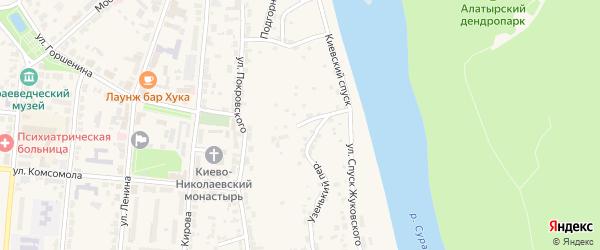 Киевский спуск на карте Алатыря с номерами домов