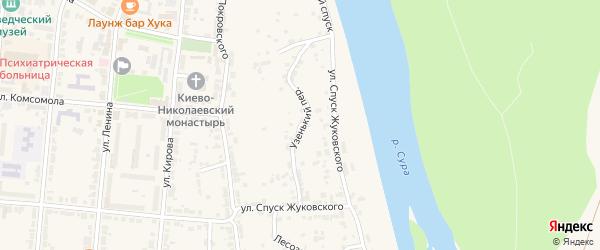 Узенький переулок на карте Алатыря с номерами домов