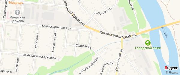 2-й Садовый переулок на карте Алатыря с номерами домов