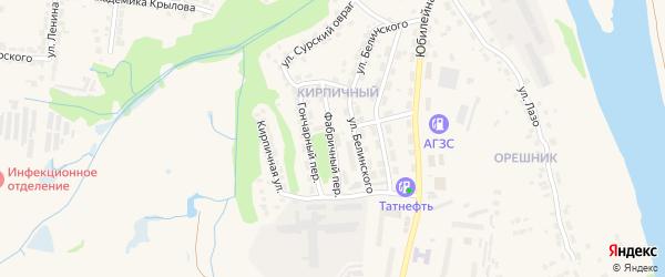Фабричный переулок на карте Алатыря с номерами домов