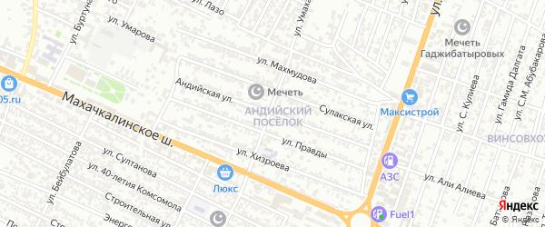 Андийская улица на карте Хасавюрта с номерами домов