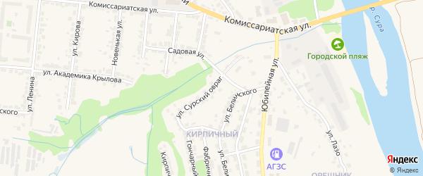 Улица Сурский Овраг на карте Алатыря с номерами домов