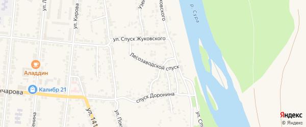 Лесозаводской спуск на карте Алатыря с номерами домов