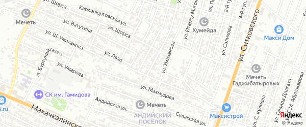 Заречный 3-й проезд на карте Хасавюрта с номерами домов