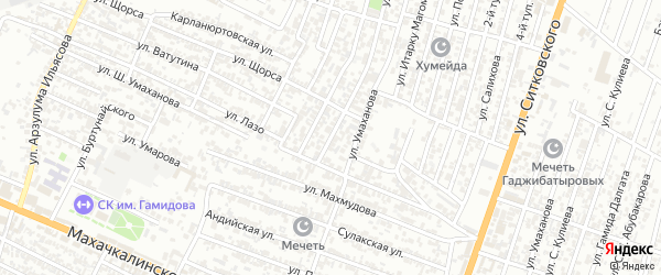Кандауровский 3-й проезд на карте Хасавюрта с номерами домов