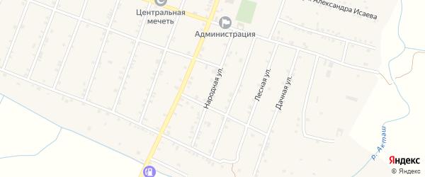 Народная улица на карте села Бамматюрта с номерами домов