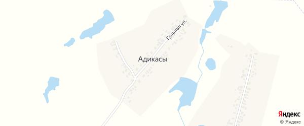 Односторонняя улица на карте деревни Адикас с номерами домов