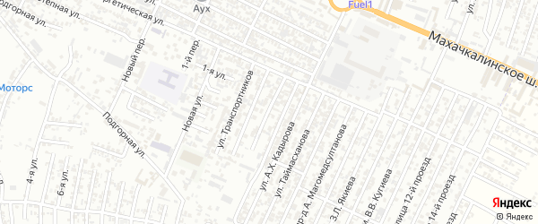 Транспортников улица 2-й проезд на карте Хасавюрта с номерами домов