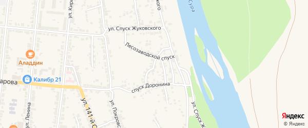 Улица 1-й Сурский косогор на карте Алатыря с номерами домов