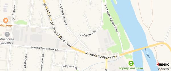 Рабочий переулок на карте Алатыря с номерами домов