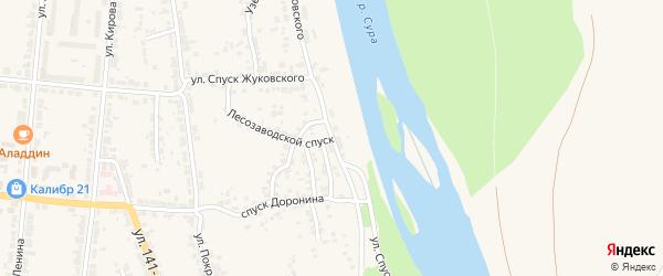 Улица Спуск Жуковского на карте Алатыря с номерами домов
