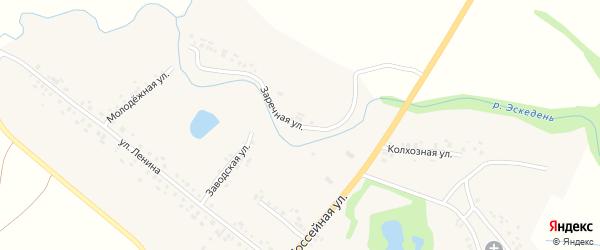 Заречная улица на карте села Ходары с номерами домов