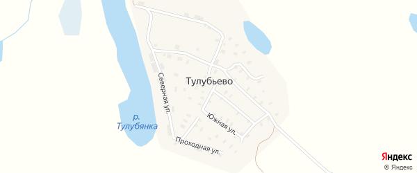 Зеленая улица на карте поселка Тулубьево с номерами домов