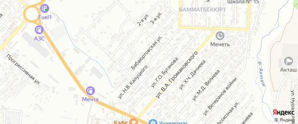 Улица Калуцкого Н.В. на карте поселка Бамматбекюрта с номерами домов