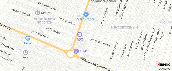 Улица Казаналипова Расула на карте Хасавюрта с номерами домов