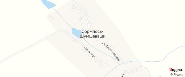 Садовая улица на карте деревни Сормпоси-Шумшеваши с номерами домов