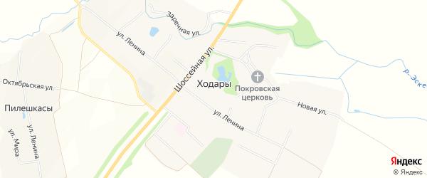 Карта села Ходары в Чувашии с улицами и номерами домов